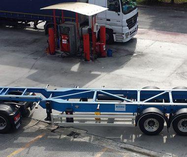 Châssis porte conteneur 45 ft col de cygne MODALIS location intermodal combiné conteneur caisse mobile